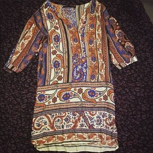 Zara Basic Blue and orange pattern dress